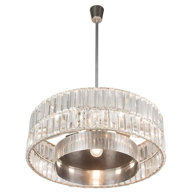Faceted Crystal Double Row Chandelier, Austrian, 1960s 4