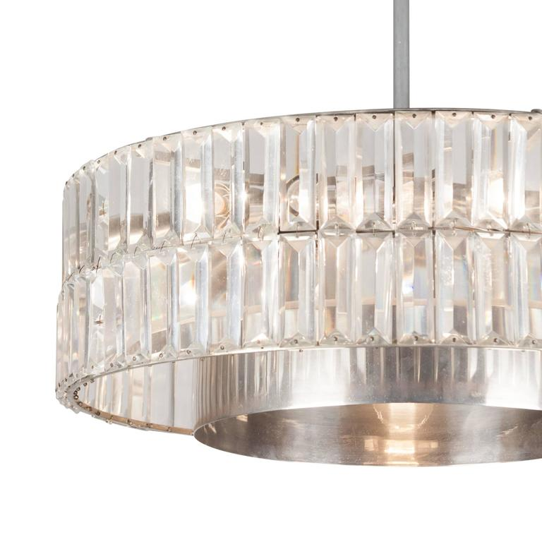 Faceted Crystal Double Row Chandelier, Austrian, 1960s 5