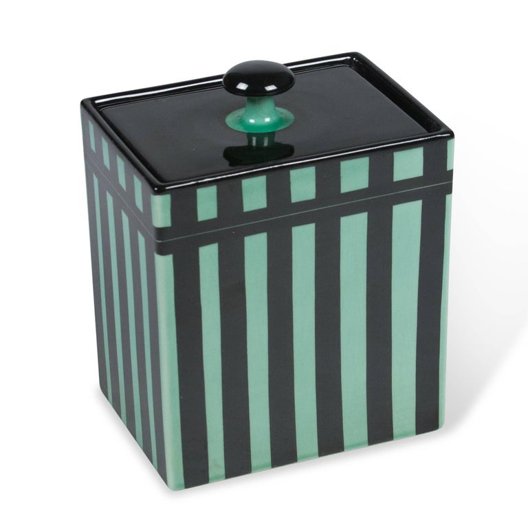 Striped Rectangular Ceramic Lidded Box by Hedwig Bollhagen 2