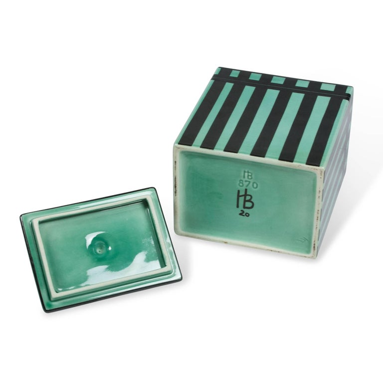 Striped Rectangular Ceramic Lidded Box by Hedwig Bollhagen 9