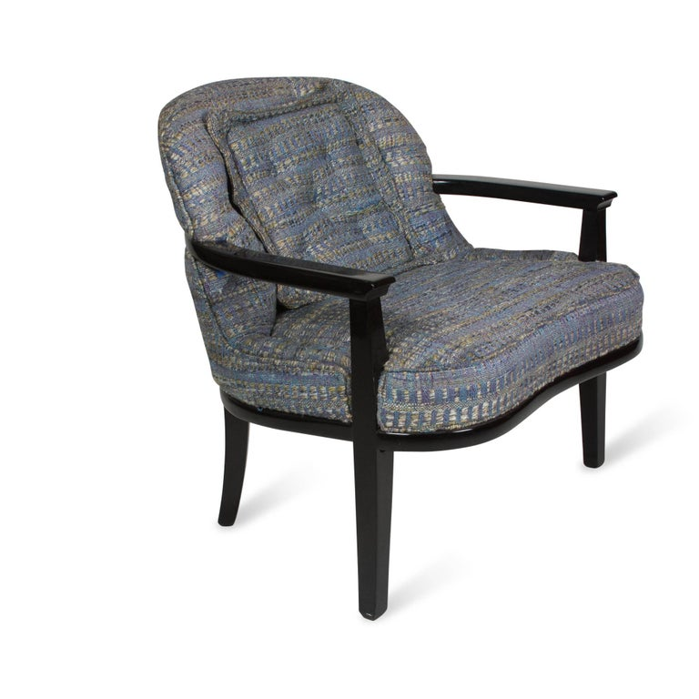 Pair of Black Lacquered Armchairs by Edward Wormley 2