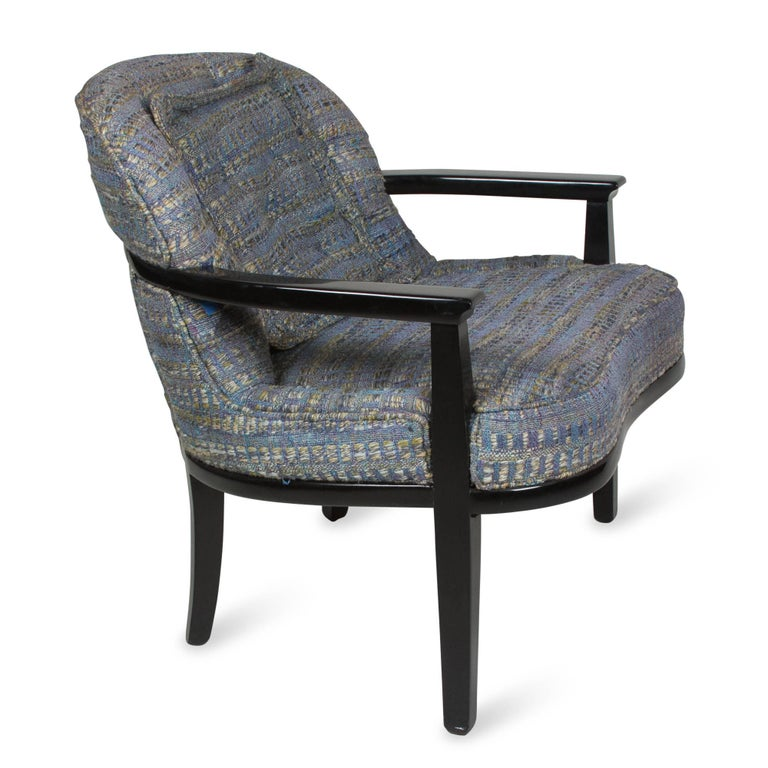 Pair of Black Lacquered Armchairs by Edward Wormley 3