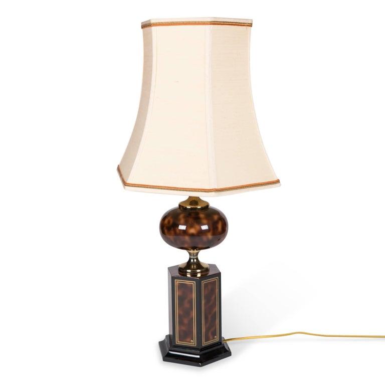 Faux Tortoise Table Lamp by Maison Jansen 5