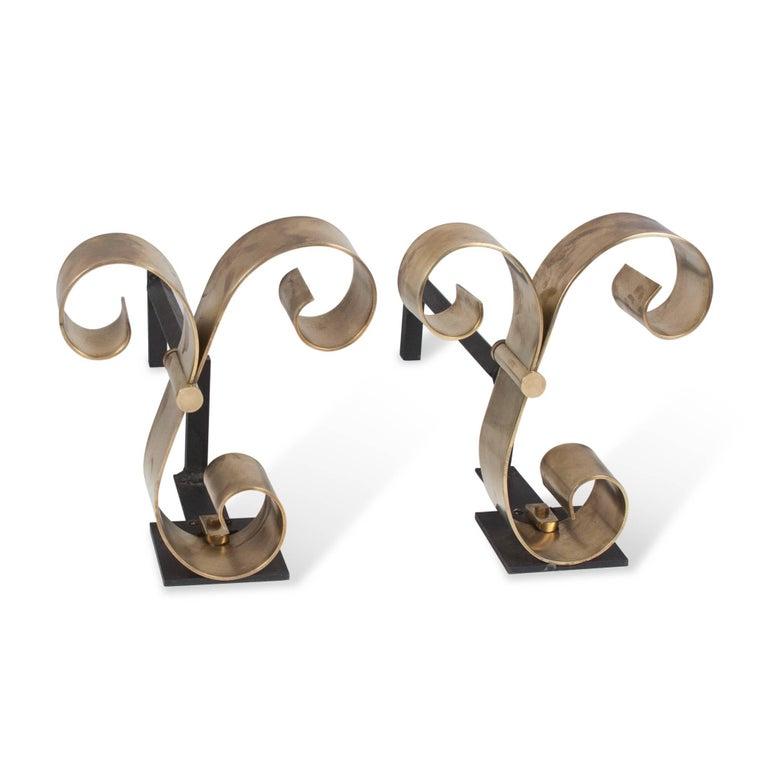 Polished Bronze Scroll Andirons, American, 1940s 3