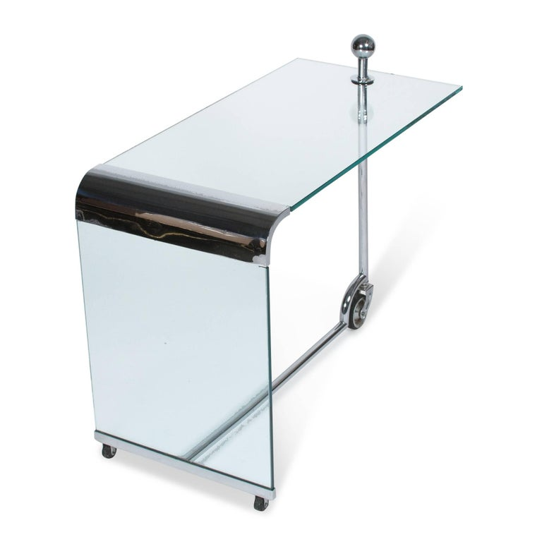 Glass and Chrome Bar Cart, German 1930s 3