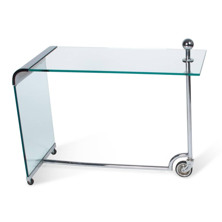 Glass and Chrome Bar Cart, German 1930s 5