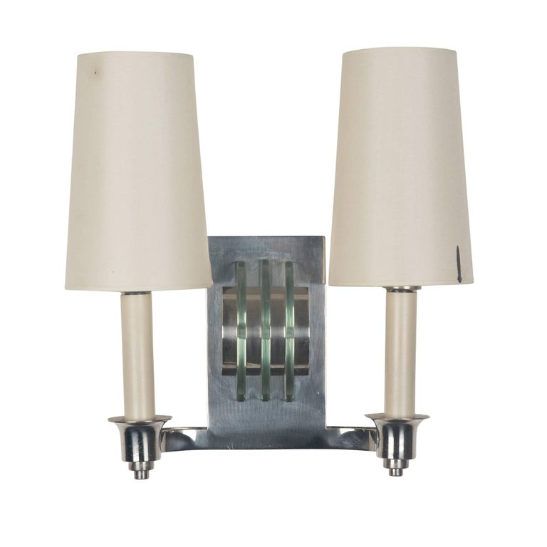 Pair of Chrome and Glass Wall Sconces, French, 1940s For Sale at 1stdibs