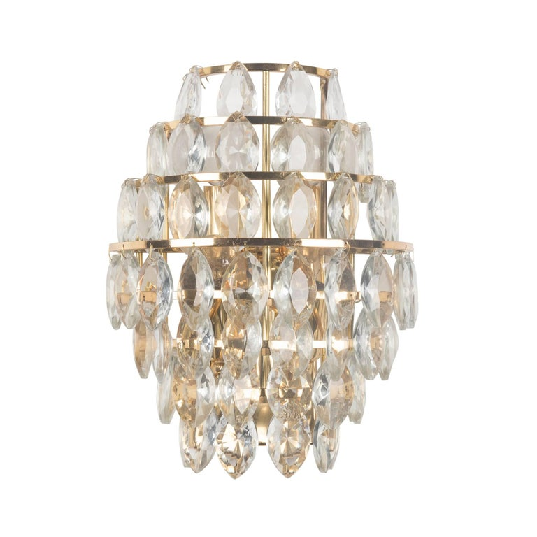 Wall Sconces With Hanging Crystals : Pair of Hanging Faceted Tiered Crystal Wall Sconces, Austrian, 1960s For Sale at 1stdibs
