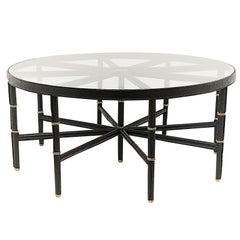Recent Edition of Jacques Adnet Coffee Table Model, Stitched Leather and Brass