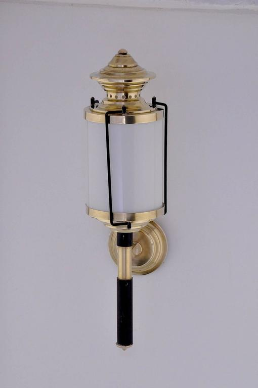 Lacquered Pair of 1950  Italian Lantern-Sconces For Sale