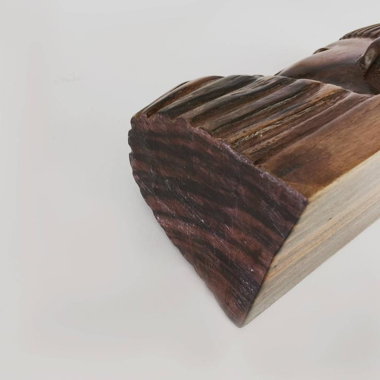 1930 Book Ends in Solid Rosewood with Its Saint Gobain Block of Glass For Sale 1