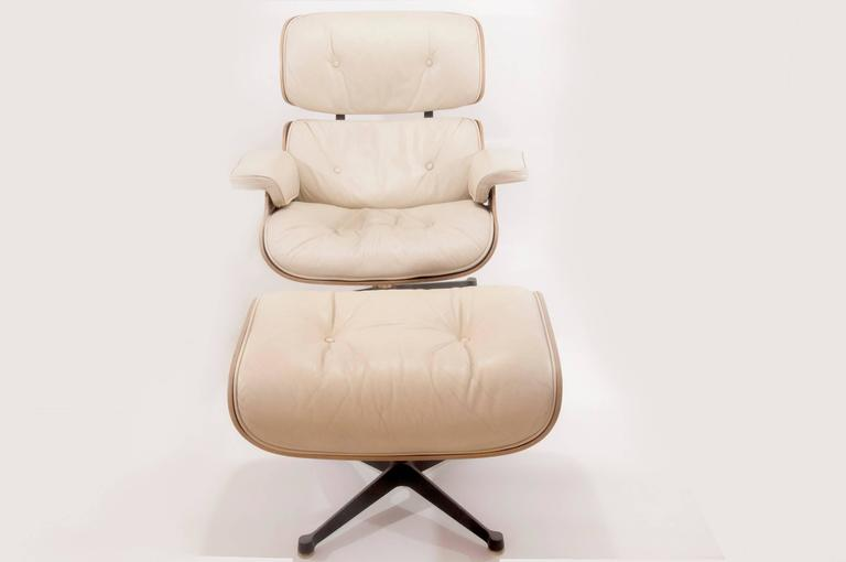 Cushions made of plumes  Mobilier International started producing Herman Miller furniture in the early 1960s until 1989-1990, under the official Licence. Lounge chair designed by Charles and Ray Eames, France, 1960s.  An early example of the Eames