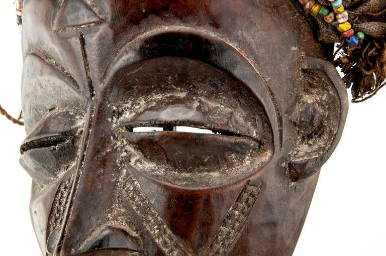Highly Decorative Wood African Mask For Sale at 1stdibs