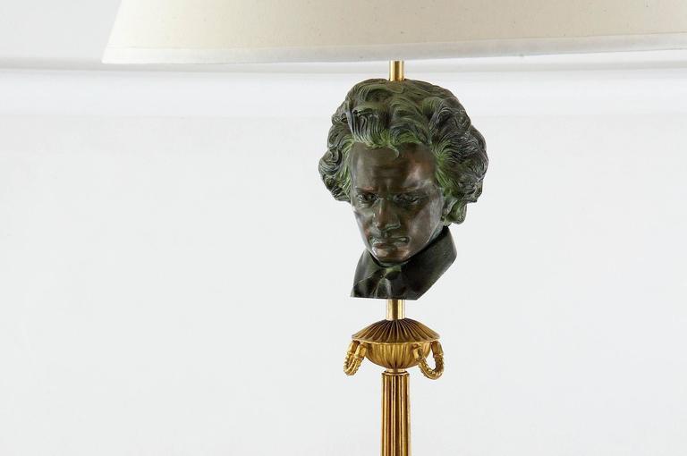 1950 Art Deco beethoven floor lamp. Neoclassical as well. Shade dimentions:  High 27cm Low diameter 40cm High Diameter 20cm.