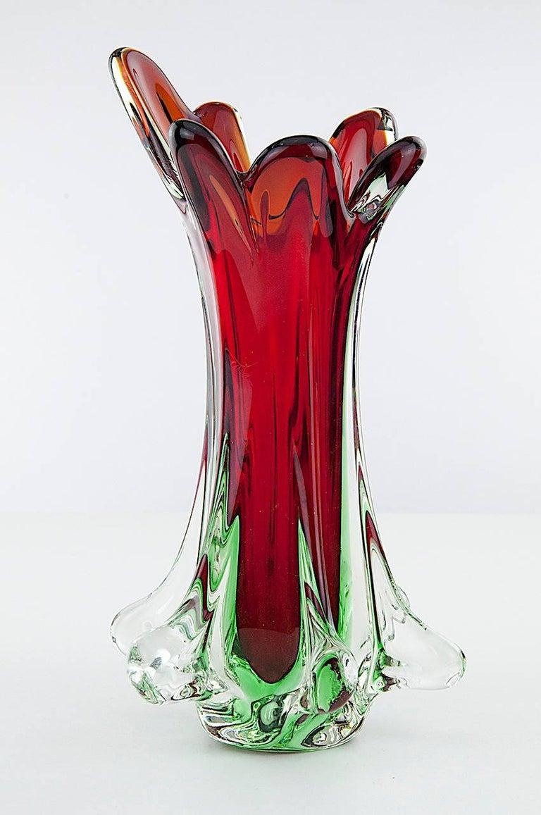 Italian Midcentury Green Murano Glass Vase Signed Flavio