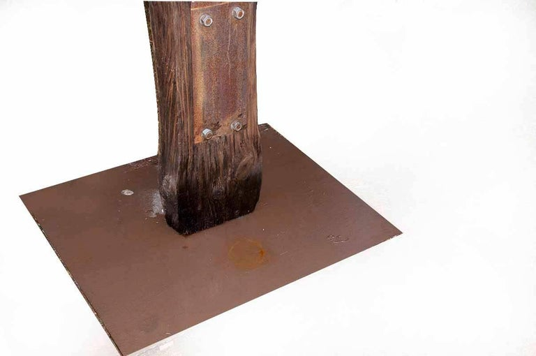 French Contemporary Outdoor Large Abstract Wood and Steel Sculpture, Model Traverse For Sale