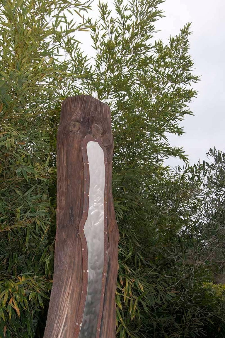 Contemporary Outdoor Large Abstract Wood and Steel Sculpture, Model Traverse In Good Condition For Sale In Auribeau sur Siagne, FR