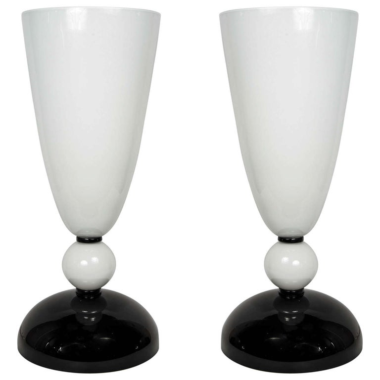 Pair of Table Lamps in Murano Glass signed «Toso Murano». For Sale
