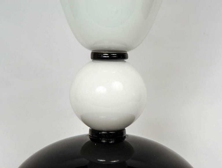Pair of Table Lamps in Murano Glass signed «Toso Murano». In Excellent Condition For Sale In Saint ouen, FR