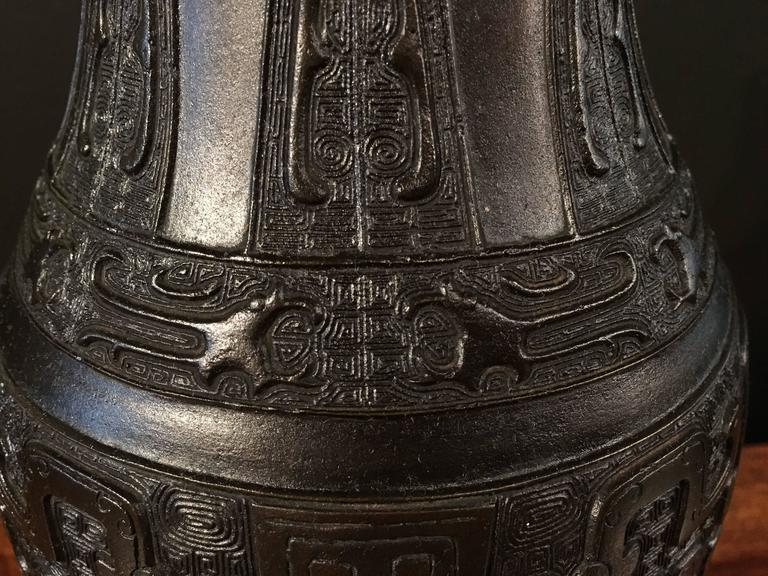 Chinese Qing Dynasty Archaistic Bronze Ovoid Baluster Vase For Sale 4