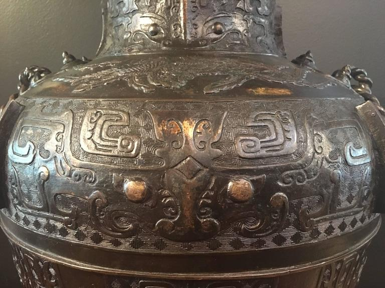 Large Qing Dynasty Chinese Archaistic Gold Splashed Bronze Hu Vase In Good Condition For Sale In Austin, TX