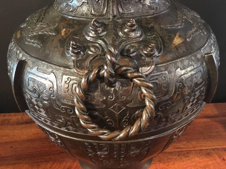 19th Century Large Qing Dynasty Chinese Archaistic Gold Splashed Bronze Hu Vase For Sale