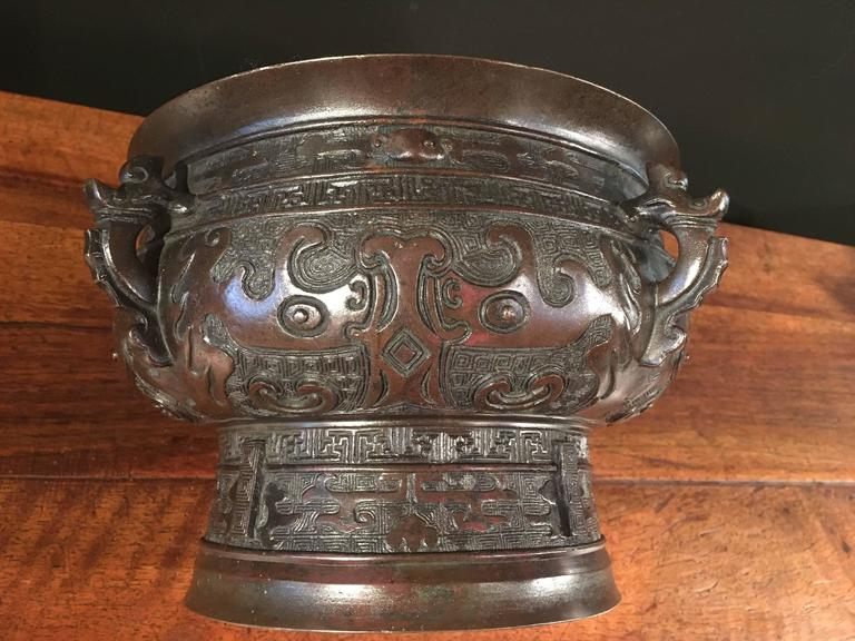 18th Century Chinese Qing Dynasty Archaistic Bronze Gui Vessel For Sale