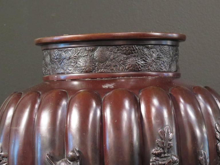 Massive Japanese Meiji Period Bronze Vase, Late 19th Century, Japan For Sale 1