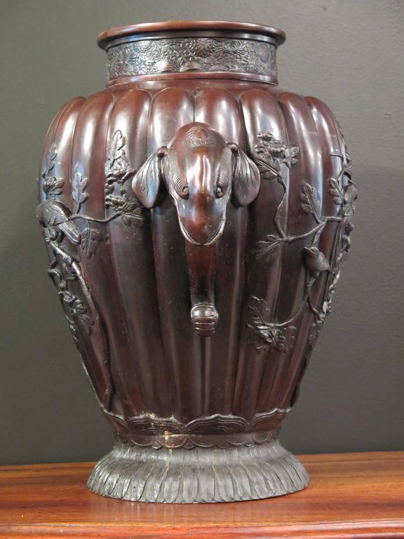 Cast Massive Japanese Meiji Period Bronze Vase, Late 19th Century, Japan For Sale
