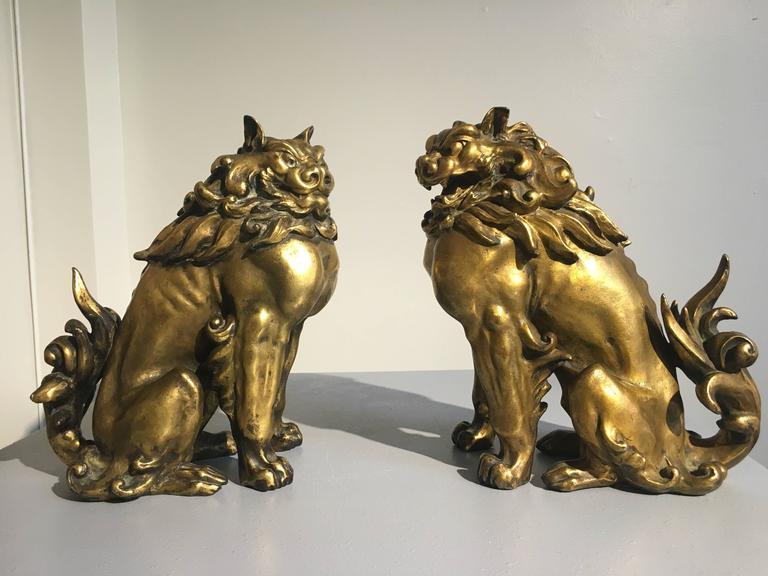 Pair of Japanese Gilt Bronze Komainu by Ishikawa Komei, Meiji Period In Good Condition For Sale In Austin, TX