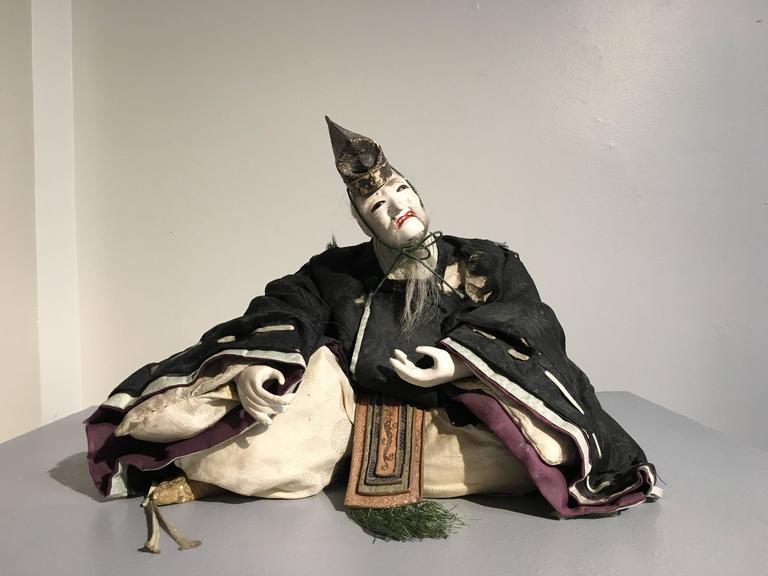 Brocade Pair of Japanese Edo Period Musha Ningyo Courtier Dolls For Sale