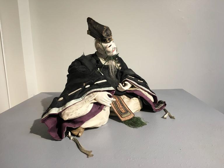 Pair of Japanese Edo Period Musha Ningyo Courtier Dolls For Sale 1