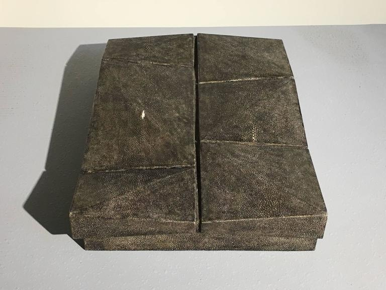 Large Modernist Shagreen Jewelry Box by R & Y Augousti In Good Condition For Sale In Austin, TX