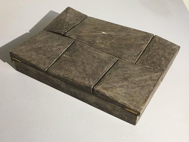 20th Century Large Modernist Shagreen Jewelry Box by R & Y Augousti For Sale