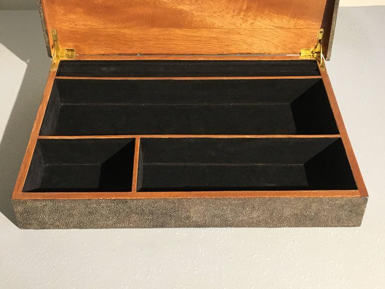 Hardwood Large Modernist Shagreen Jewelry Box by R & Y Augousti For Sale