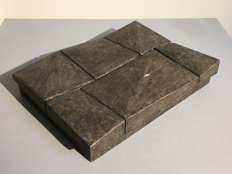Large Modernist Shagreen Jewelry Box by R and Y Augousti For Sale at