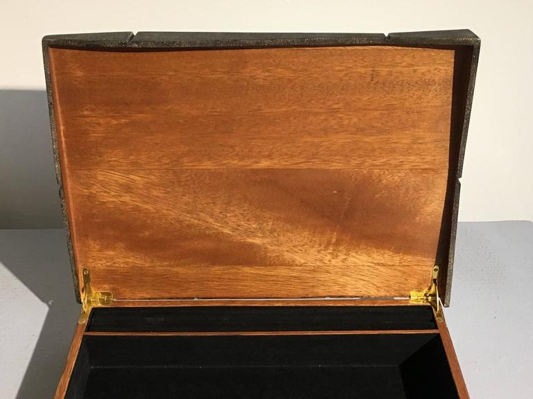 Large Modernist Shagreen Jewelry Box by R & Y Augousti For Sale 1