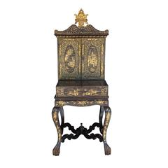 19th Century Chinoiserie Black Lacquer and Gilt Painted Vanity Cabinet on Stand