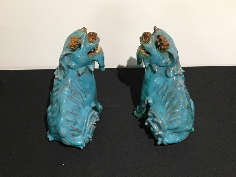 Hollywood Regency Pair of Chinese Turquoise Glazed Shiwan Pottery Foo Dogs For Sale