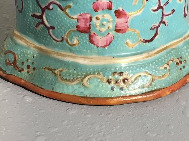 Pair of 18th Century Chinese Export Mandarin Turquoise Vases For Sale 4