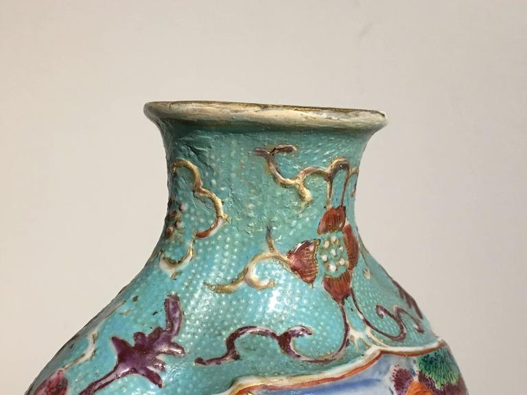 Pair of 18th Century Chinese Export Mandarin Turquoise Vases For Sale 3