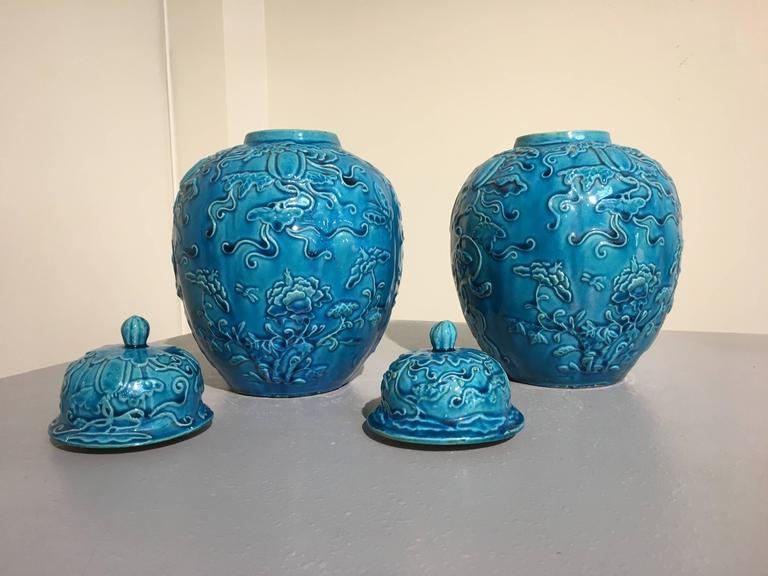 Pair Chinese Over Molded Turquoise Melon Form Ginger Jars, Qing Dynasty  In Good Condition For Sale In Austin, TX