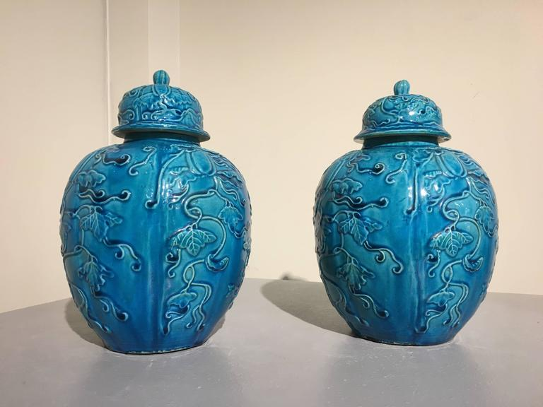 A stunning pair of Chinese Qing Dynasty turquoise glazed melon form lidded ginger jars with over molded decorations, late 19th or early 20th century, China.  The jars with lobed, globular bodies, decorated in over molded relief with a central spray
