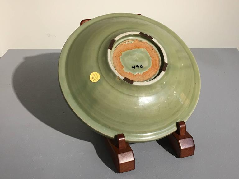 Porcelain Chinese Ming Dynasty Longquan Celadon Peony Deep Dish, 14th-15th Century For Sale