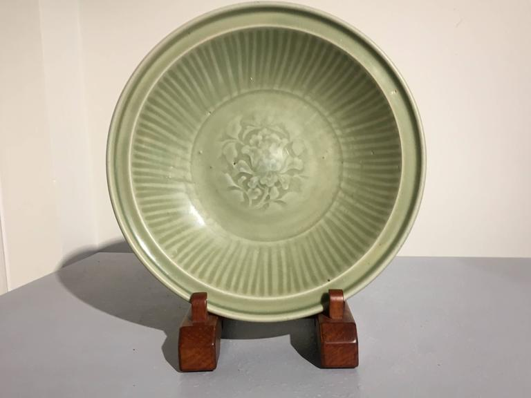 Glazed Chinese Ming Dynasty Longquan Celadon Peony Deep Dish, 14th-15th Century For Sale