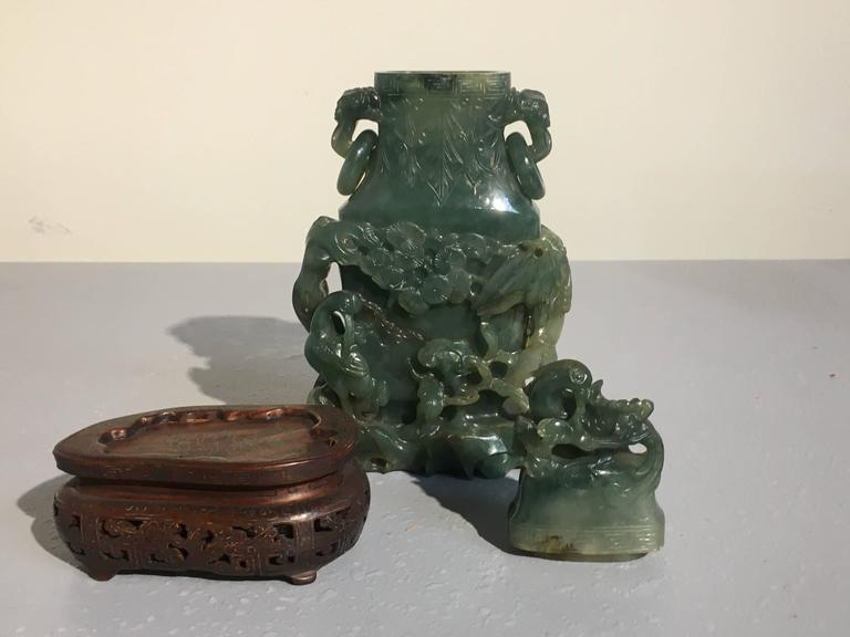 Chinese Carved Jadeite Vase and Cover, Qing Dynasty, Ex. C.T. Loo For Sale 1