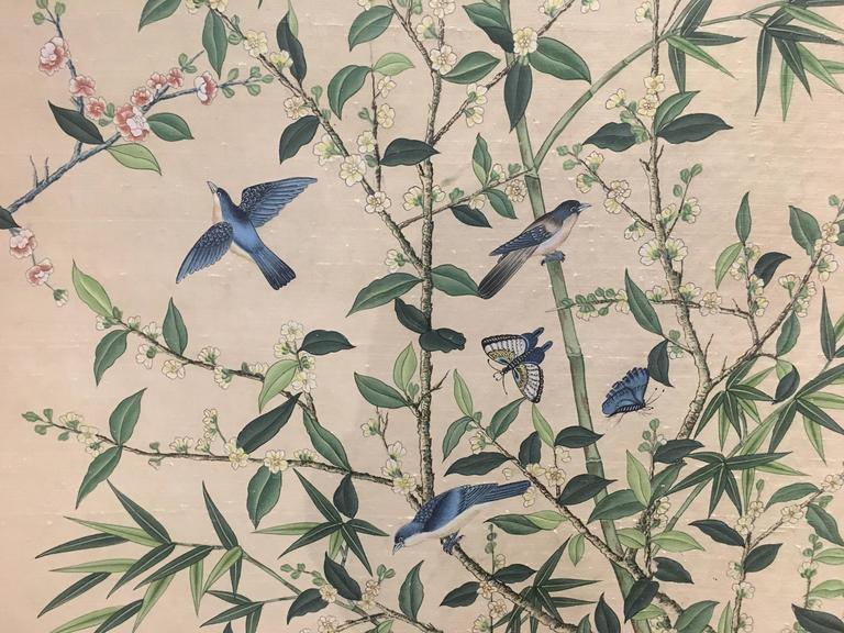 Unknown Chinoiserie Hand Painted Silk Wallpaper Style Panel For Sale