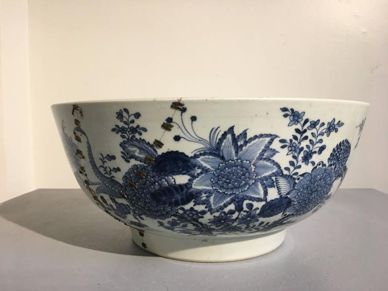 Glazed Large Chinese Export Punchbowl with Staple Repairs, 18th Century For Sale