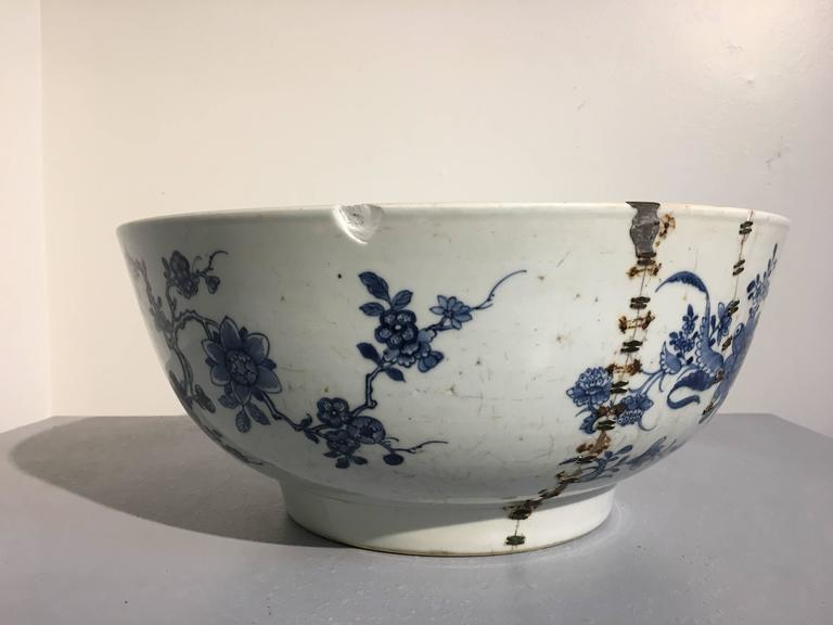 Large Chinese Export Punchbowl With Staple Repairs 18th