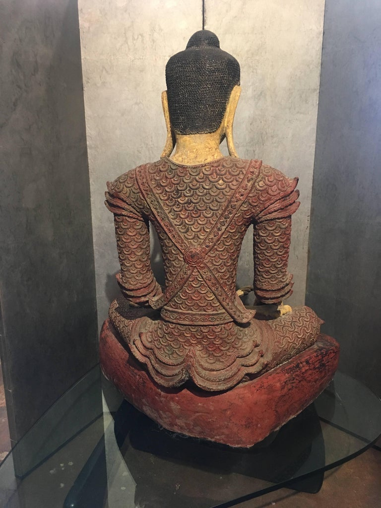Life-Sized Burmese Dry Lacquer Buddha in Royal Attire, Early 20th Century In Good Condition For Sale In Austin, TX